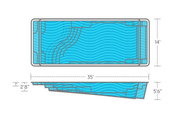 SwimUSA Fiberglass - Aspen - 14' x 35' 5'6'' $64,120.00