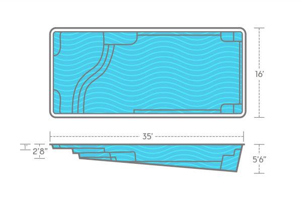 SwimUSA Fiberglass - Aspen - 16' x 35' 5'6'' $72,510.00