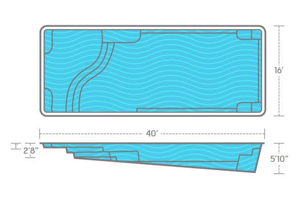 SwimUSA Fiberglass - Aspen - 16' x 40' 5'10'' $77,510.00