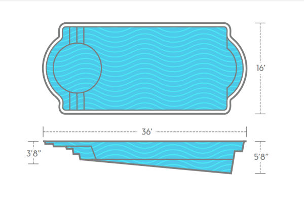 SwimUSA Fiberglass - Cathedral LX - 16' x 36' 5'8'' $72,510.00