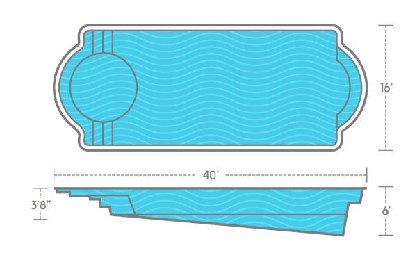 SwimUSA Fiberglass - Cathedral LX - 16' x 40' 6' $77,260.00