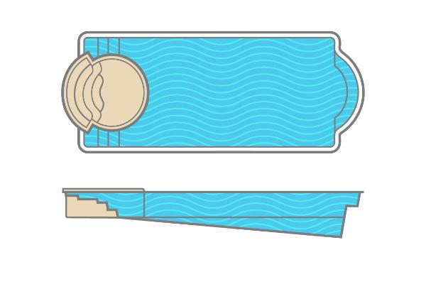SwimUSA Fiberglass - Cortona - Basic   16' x 40' 6' $89,135.00