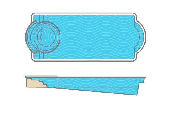 SwimUSA Fiberglass - Cortona - Spa With Spillover   16' x 40' 6 $89,135.00