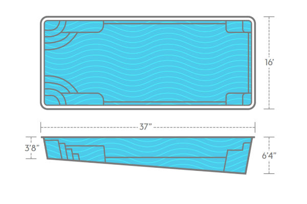 SwimUSA Fiberglass - Goliath - 16' x 37' 6'4'' $69,260.00