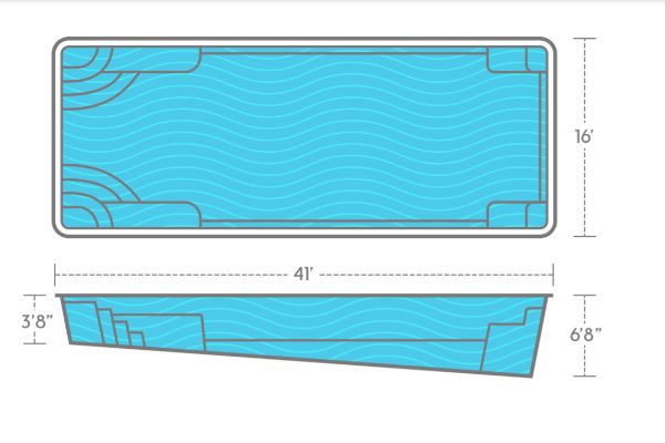 SwimUSA Fiberglass - Goliath - 16' x 41' 6'8'' $72,760.00