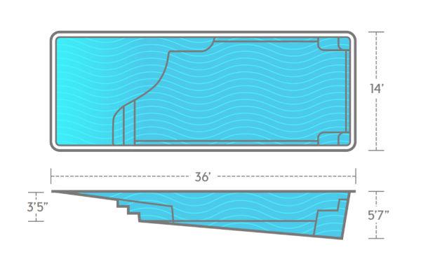 SwimUSA Fiberglass - Grace Beach Entry - 14' x 36' 5'6'' $66,370.00