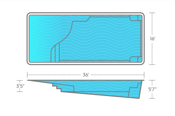 SwimUSA Fiberglass - Grace Beach Entry - 16' x 36' 5'6'' $77,010.00
