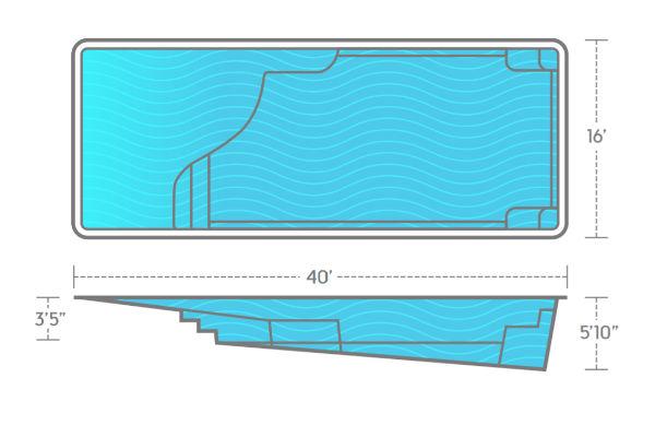 SwimUSA Fiberglass - Grace Beach Entry - 14' x 36' 5'10'' $84,010.00