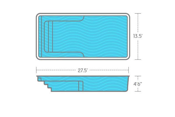 SwimUSA Fiberglass - Lil Bob - 13.5' x 27.5' 4'6'' $46,870.00