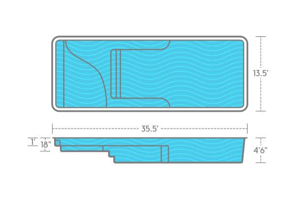 SwimUSA Fiberglass - Lil Bob LX - 13.5' x 35.5' 4'6'' $59,120.00