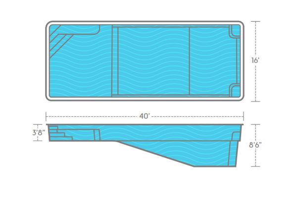 SwimUSA Fiberglass - Monolith - 16' x 40' 8'6'' $79,010.00