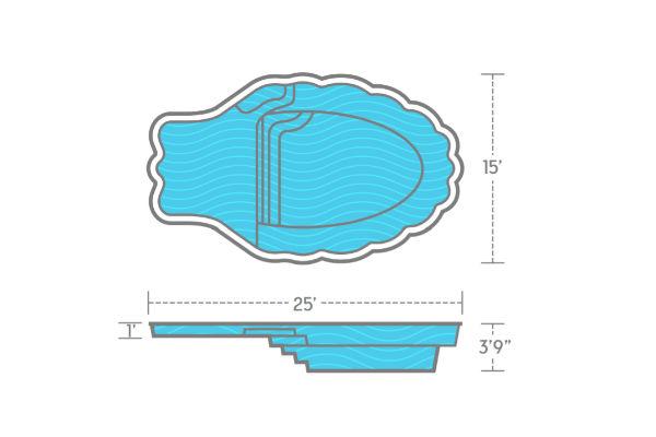 SwimUSA Fiberglass - Pearl - 15' x 25' 3'9'' $42,870.00