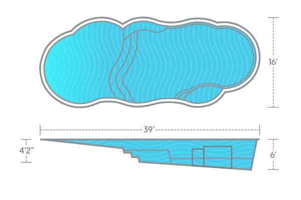 SwimUSA Fiberglass - Sandal Beach Entry - 16' x 39' 6' $80,260.00