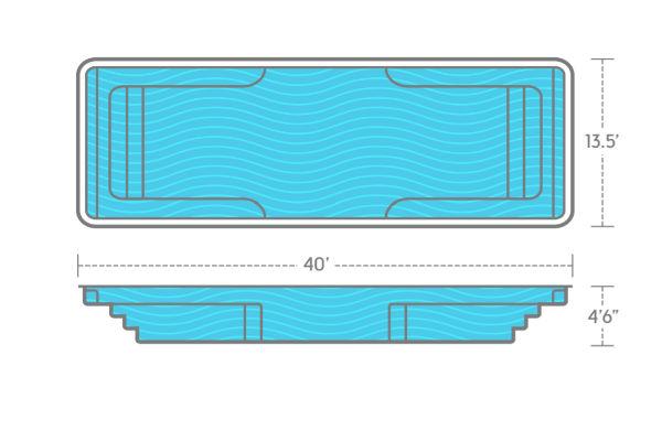 SwimUSA Fiberglass - Spirit - 13.5' x 40' 4'6'' $62,620.00