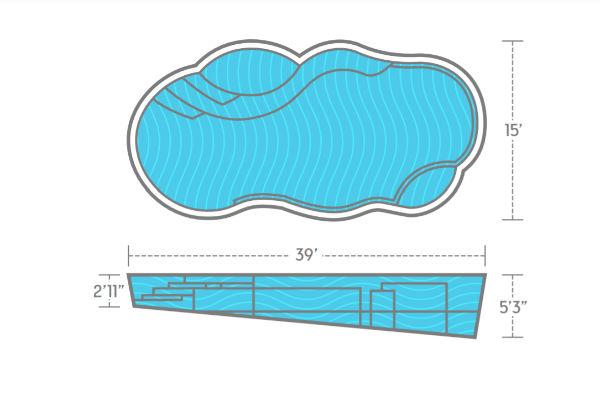 SwimUSA Fiberglass - Sun Day - 15' x 30' 5'3'' $57,760.00