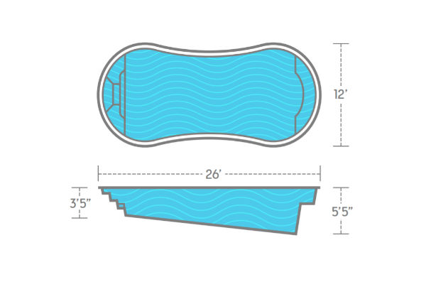 SwimUSA Fiberglass - Titus - 12' x 26' 5'5'' $42,230.00