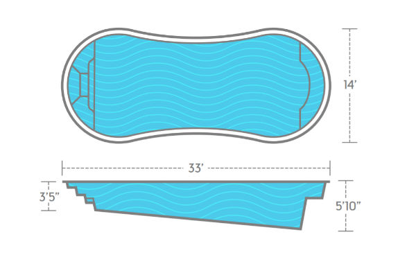 SwimUSA Fiberglass - Titus - 14' x 33' 5'10'' $49,620.00